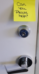 Note for help on door